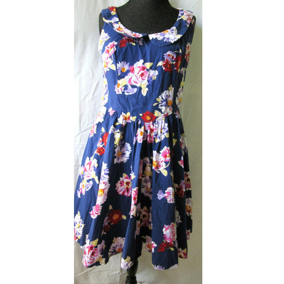 ae94fe605fd60 New Look Dresses | Navy Floral Dress London Cotton Spring Summer ...